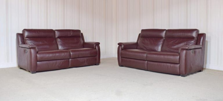 Brown Leather X2 3 Seater Recliner