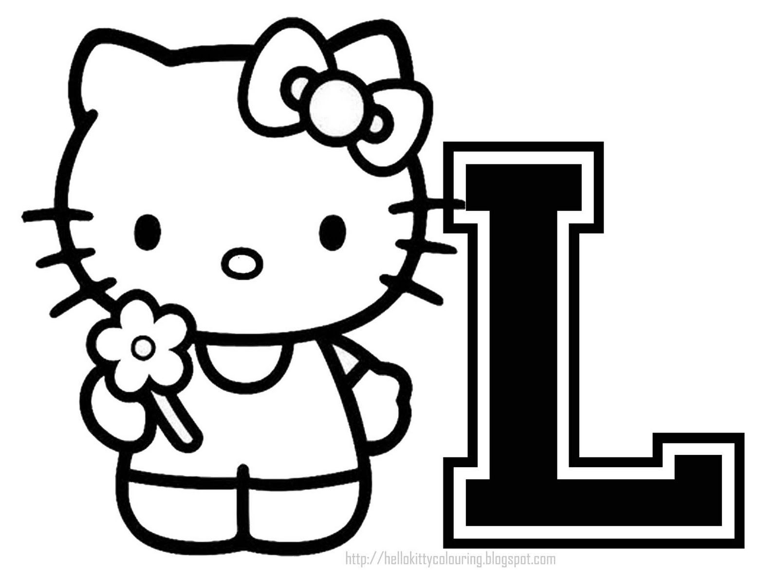 Personalized Coloring Page Initial Letter Hello Kitty Hello Kitty Coloring Hello Kitty Colouring Pages Kitty Coloring
