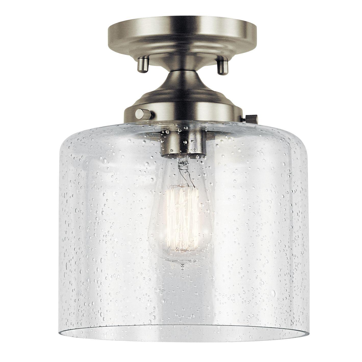 Semi Flush Foyer Light In Nickel With Seedy Glass Semi Flush