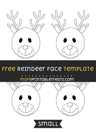 Free Reindeer Face Template - Small Christmas Printables