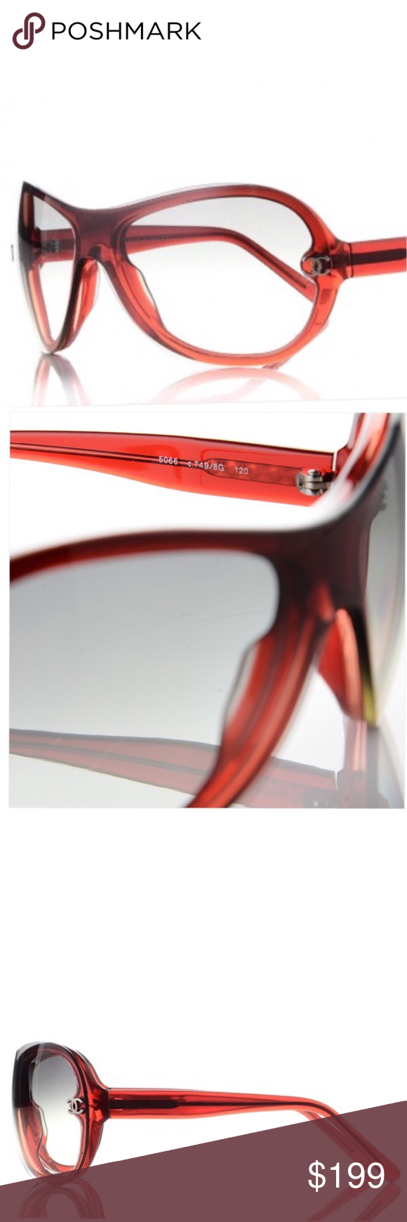 0be0711f5e317 Authentic CHANEL cc Logo. sunglasses RED♥ ♥ Approximate measurements Height  5.5