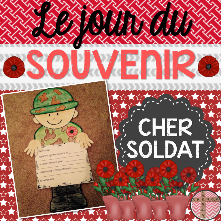 This product includes a great activity in French for Remembrance Day. The CRAFTIVITY includes three different writing options for various levels of French and all of the black-line masters/templates required to build your soldier.   There is a total of 3 writing options. These include a primary version, a junior version and an acrostic poem. You can choose the option that best fits the needs of your class or you can have students choose the option they prefer.