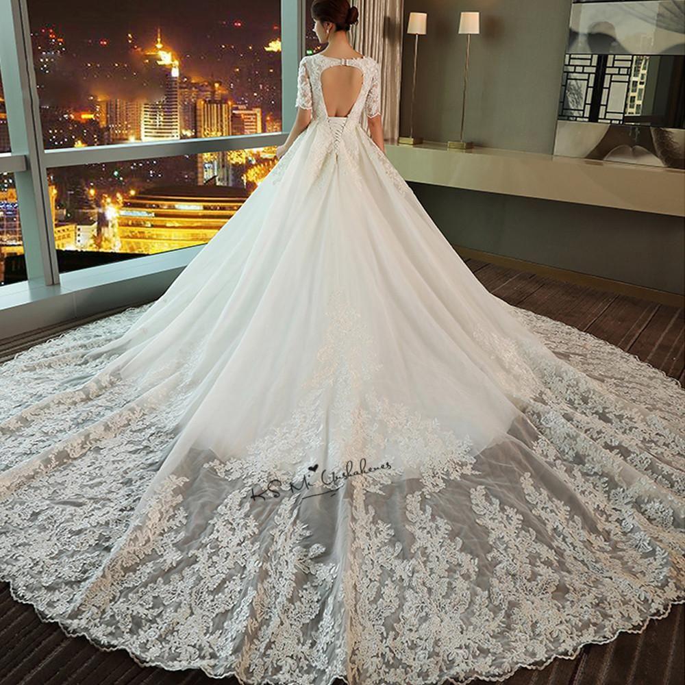 Vestido de noiva elegant korean ball gown wedding dresses court