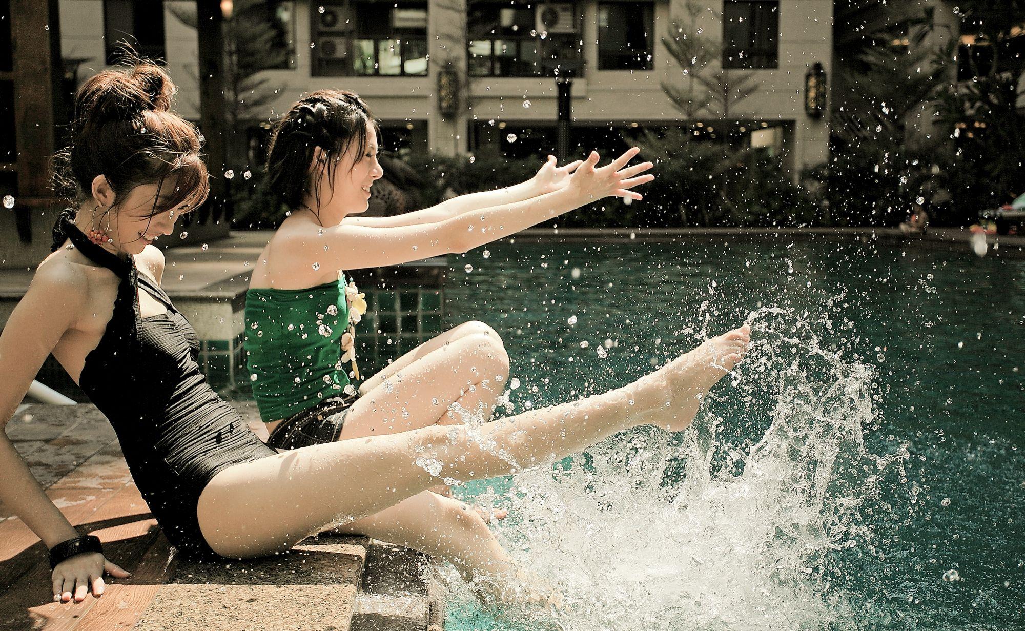 Girls enjoying the pool