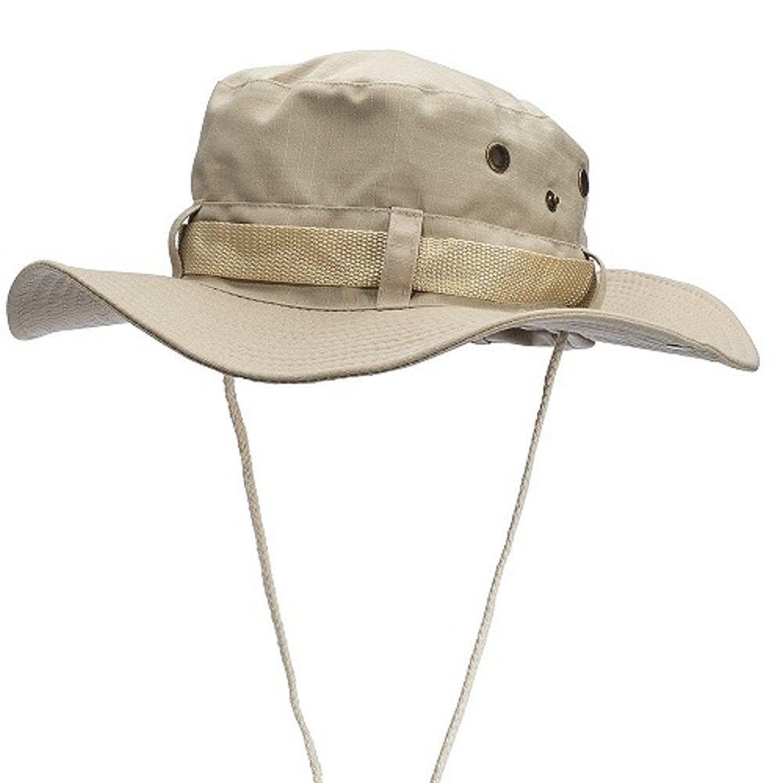 Outdoor Wide Brim Boonie Hat Mens Safari Chin Cord Hats Fishing Sun ... 3949863b7a2
