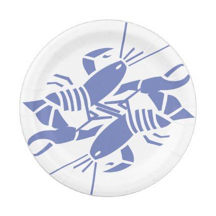 Blue Lobsters Silhouette on White Paper Plates $1.60 by Printfitters - cyo customize personalize diy idea  sc 1 st  Pinterest & Blue Lobsters Silhouette on White Paper Plates $1.60 by Printfitters ...
