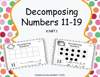 This is a packet of sheets for students to work on K.NBT.1, decomposing teen numbers, 11-19. These can be used as independent worksheets or laminated and used in a center. This will give students an opportunity to work with decomposing. They will fill in the 10's frame and record how many are on and off the 10's frame and write a number sentence.