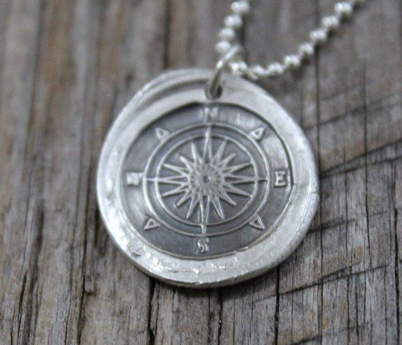 246a1c694266 Silver Compass Necklace Vintage Inspired Pendant - Fine Silver Wax Seal  Necklace - Travel Necklace D