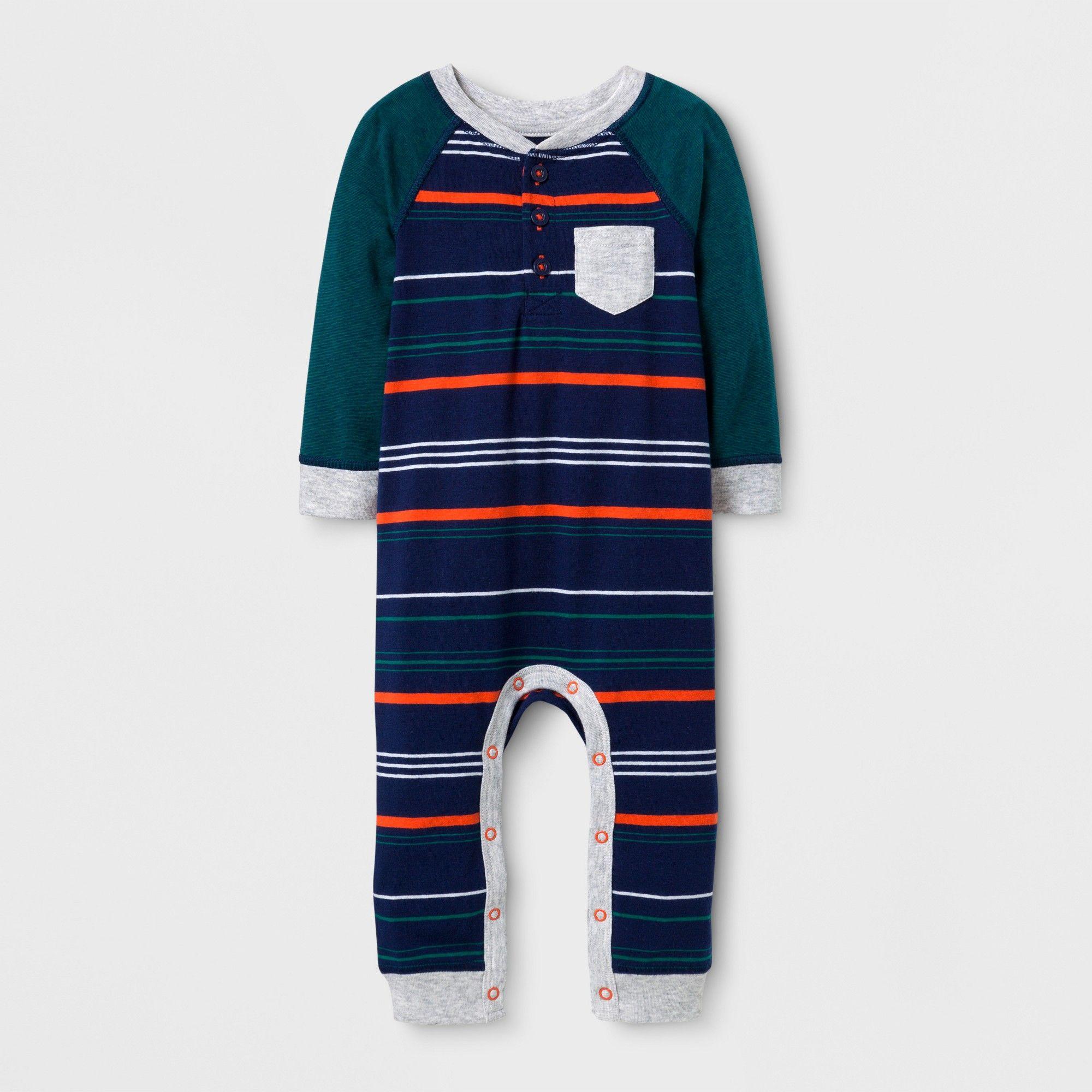 f861f2334a5a Baby Boys  Striped Henley Long Sleeve Romper - Cat   Jack Nightfall ...
