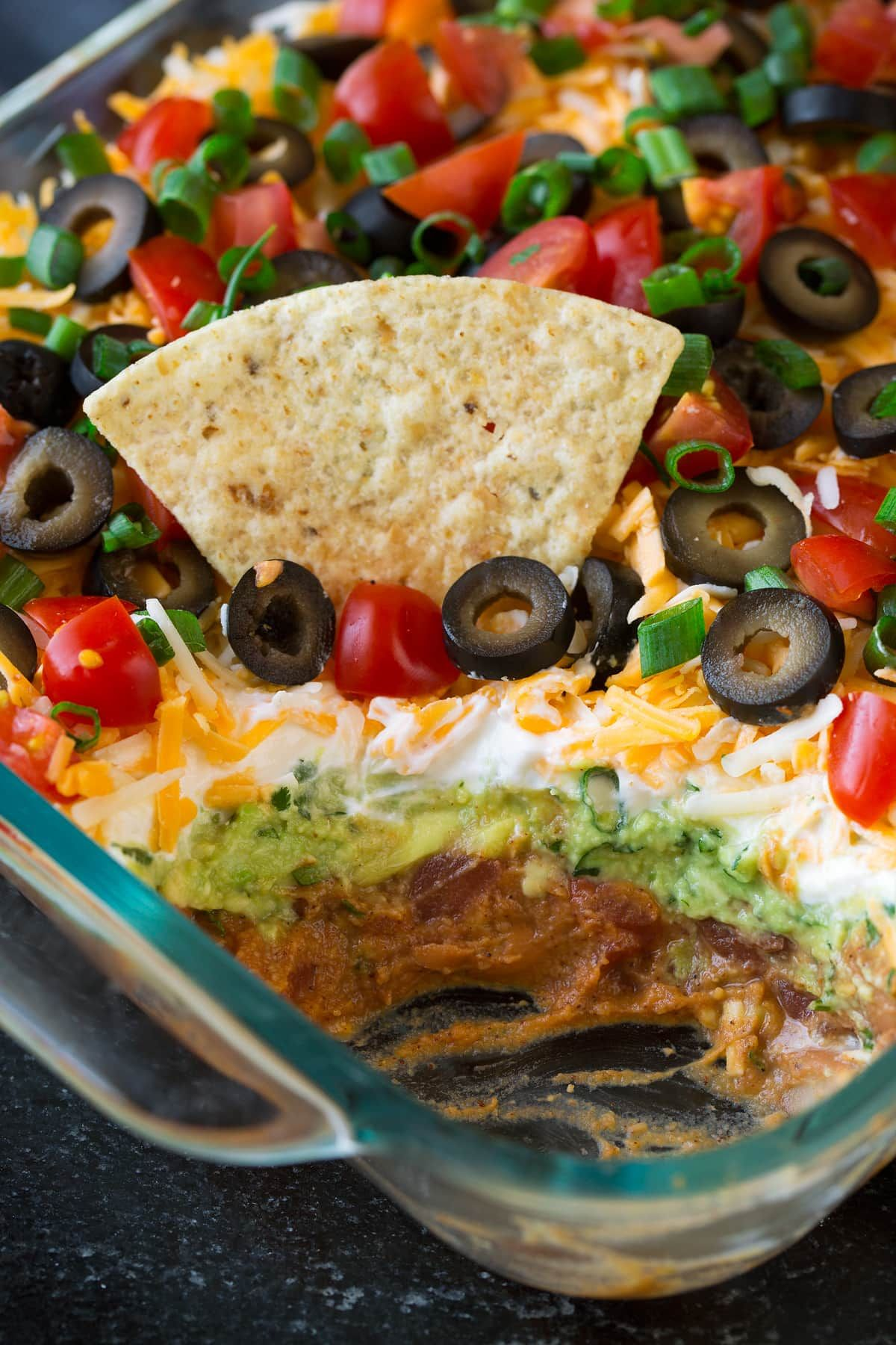 The Best 7 Layer Dip Made With Seasoned Refried Beans Guacamole Sour Cream Cheese Olives Tomatoes A Cookout Food Mexican Food Recipes Layered Dip Recipes