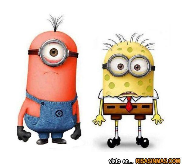 Minions como Patricio y Bob Esponja  Humor e imgenes divertidas
