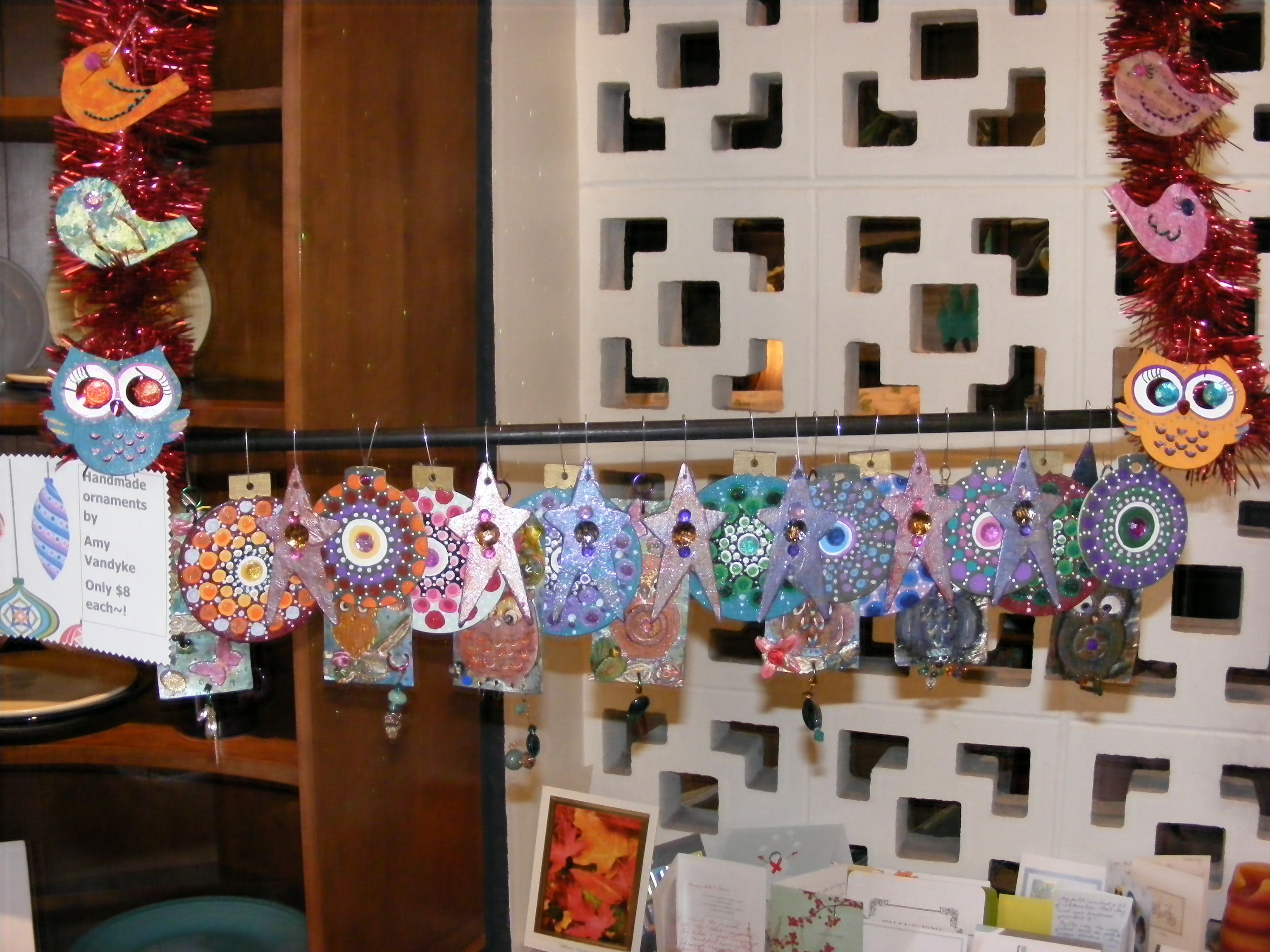 Original Ornaments by Amy Vandyke~! Join us at Retro for Art Hop tonight~! 5-9pm for some local art, a glass of wine, and some snacks~! — at Retro Kalamazoo.
