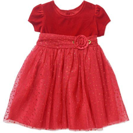 George Toddler Girl Glitter Dot Holiday Special Occasion Dress, Size: 25 Months, Red