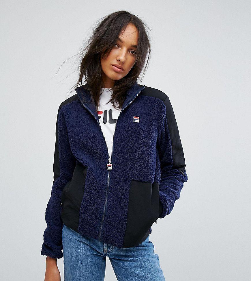 Fila Tall Teddy Bear Jacket With Contrast Pocket Detail