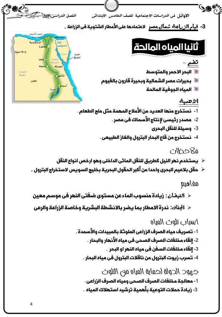 مذكرة دراسات للصف الخامس الابتدائى الترم الأول Exam Map Map Screenshot