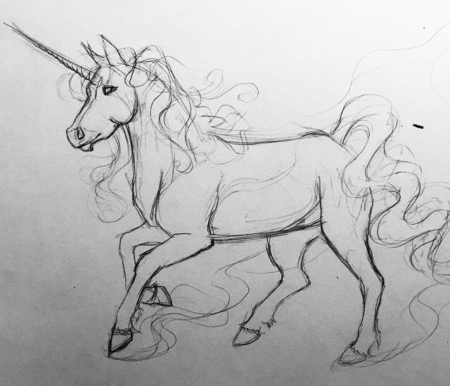 Unicorn sketch more sketching today because ive been out of the studio all weekend back to full color rendered work tomorrow