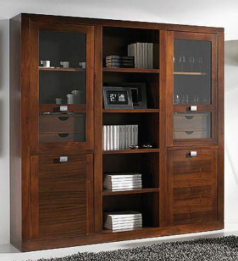 Vitrina con librer a y con 4 puertas y 4 cajones - Nogal americano muebles ...