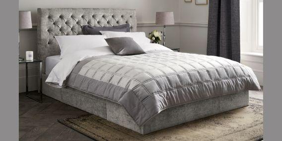Best Paris King Size Bed In Soft Velvet Graphite Bed Storage 400 x 300