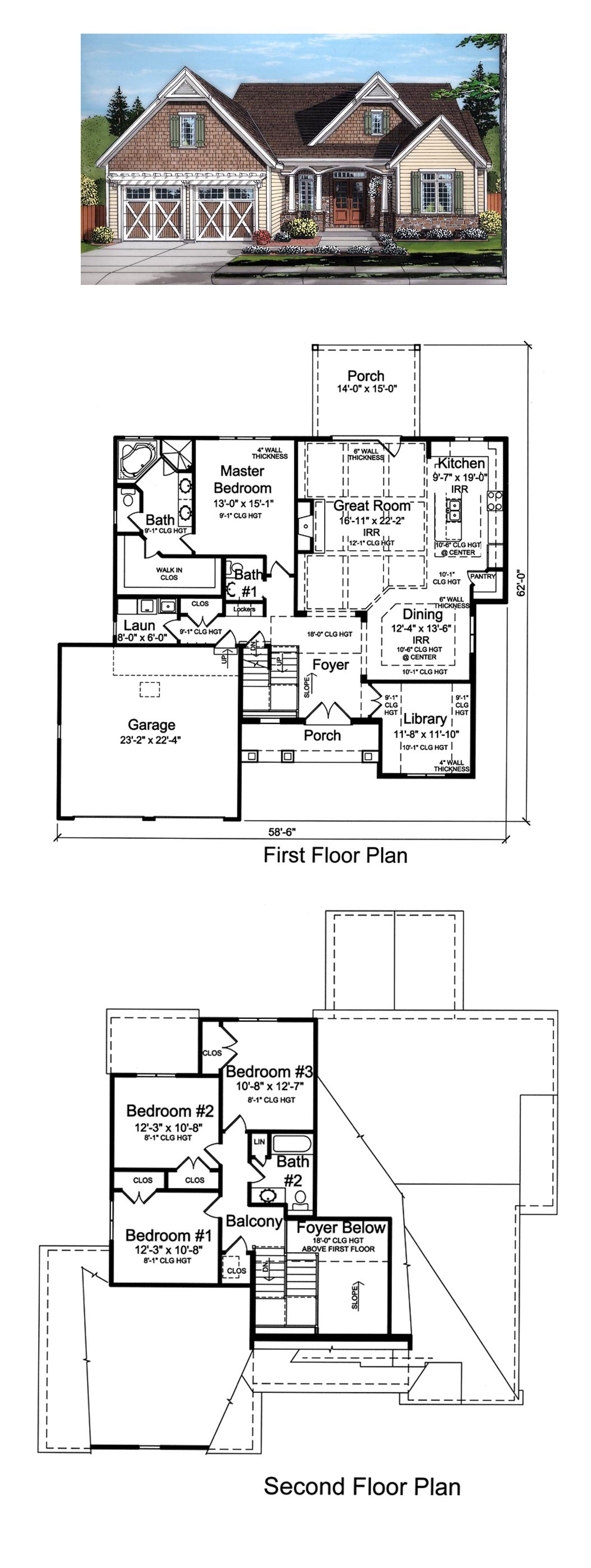 Country Craftsman Traditional House Plan 98677