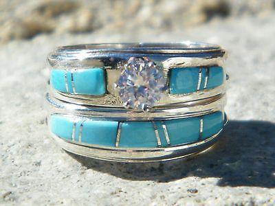 native american indian navajo wedding rings band turquoise cz muskett sz 7 ebay - Ebay Wedding Rings