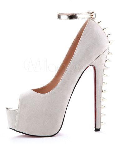 Piel Peep Con Toe De Albaricoque Carnero Clavos Color Zapatos TJKc1Fl
