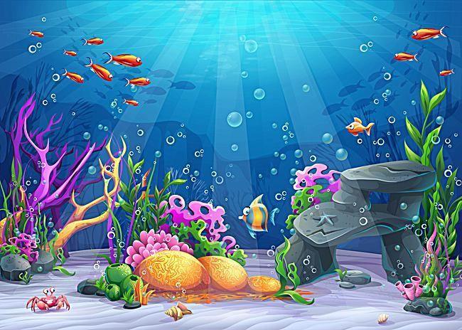 Vector Cartoon Ocean Underwater World Background Material Underwater Cartoon Under The Sea Background Ocean Underwater