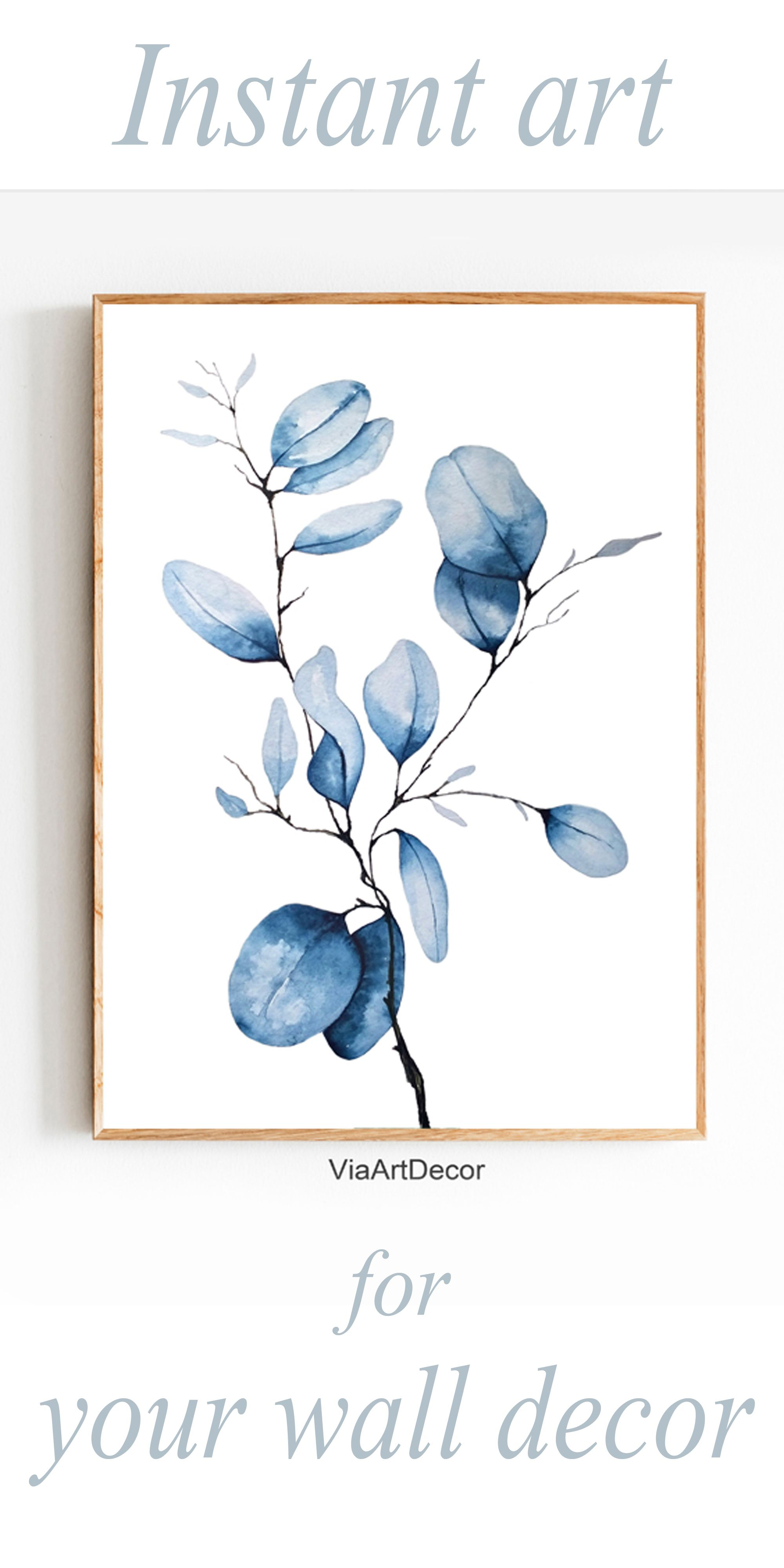 Instant Art For Your Home Blue Watercolor Art Print Printable