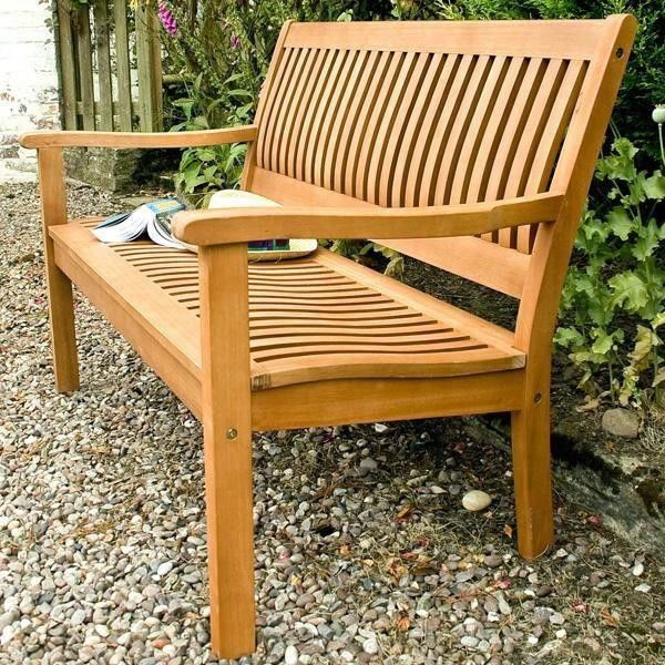 2 Seater Wooden Bench Seat Garden Patio Back Rest Wood Weatherproof Balcony  Yard