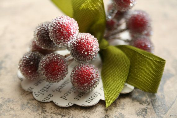 frosted cranberry stamen bundles, Julie Collings, Etsy