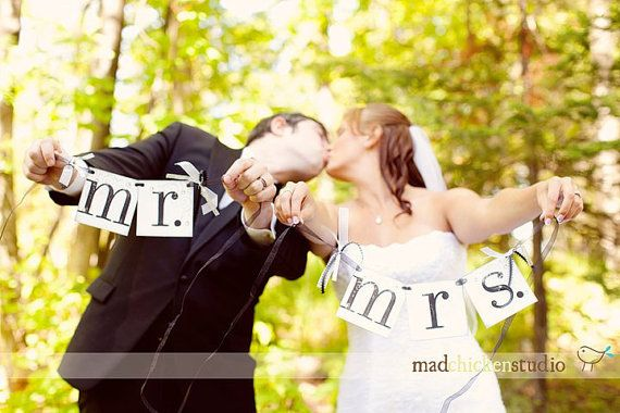MR and MRS Banner / wedding chair hanger by CowCountryCreations, $12.00
