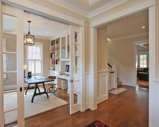 Interesting Wooden Pocket Doors: Traditional Home Office With Twin White Wood And Glass Pocket Doors Design ~ spoond.com Decorating Inspiration