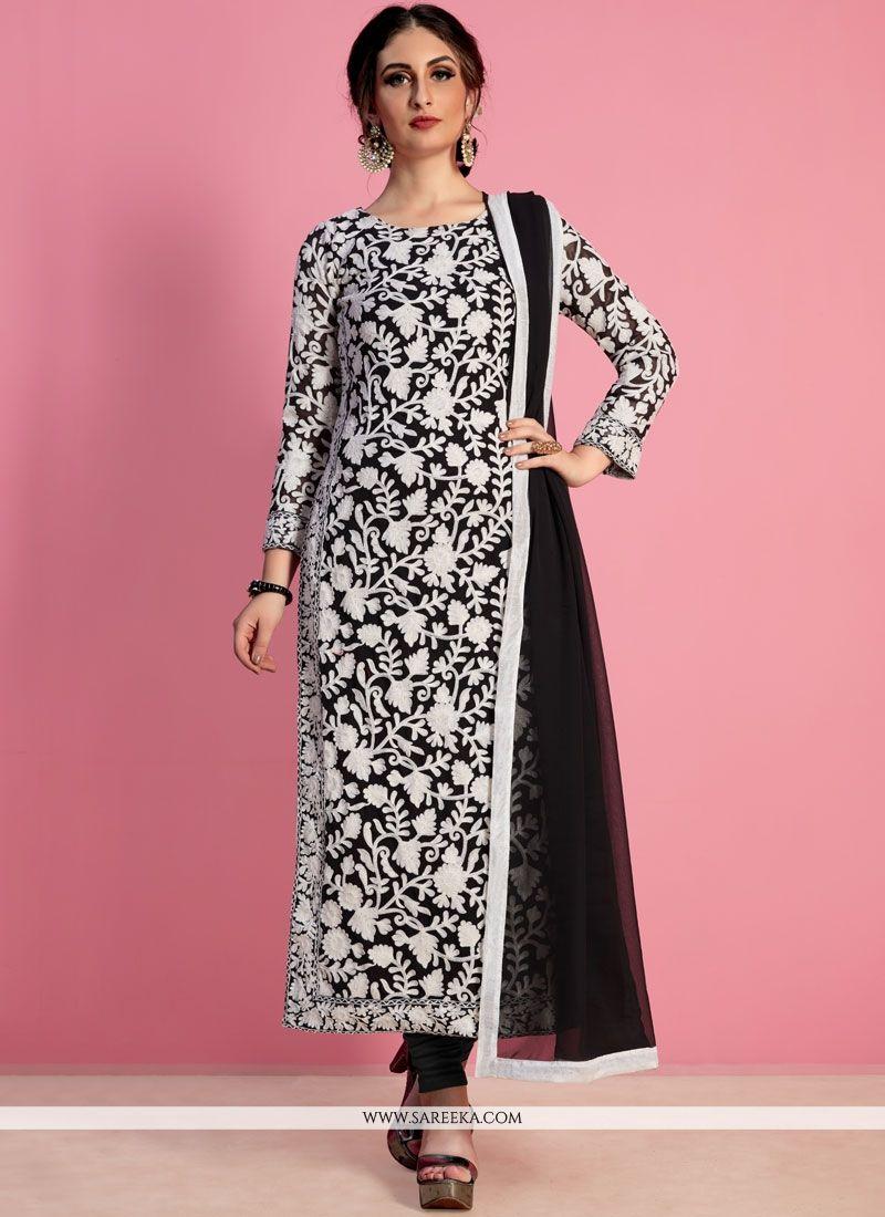 de50d145b Black Thread Work Work Georgette Churidar Salwar Suit in 2019 ...