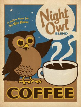 Coffee Collection Night Owl Gallery Print Midcentury Prints And Posters By Anderson Design Group Owl Coffee Blended Coffee Coffee Art