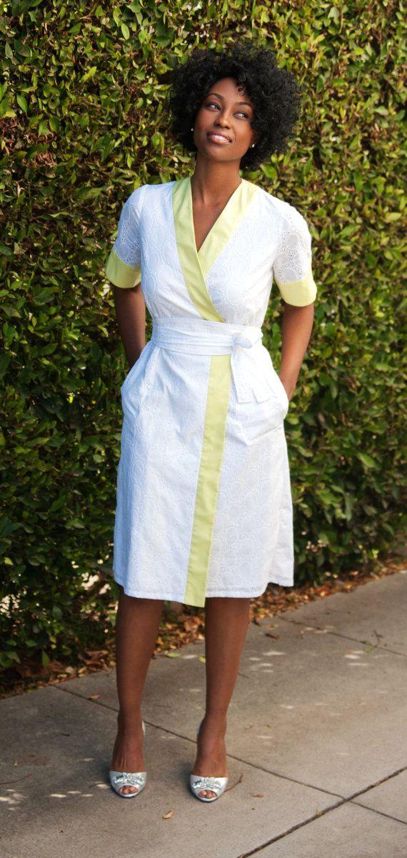 Kimono Dress with Pockets & Obi Belt in White от kajanistudio
