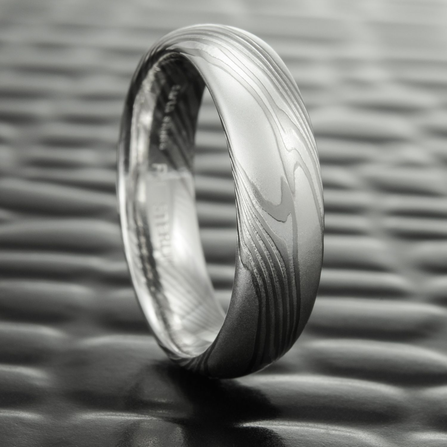 Palladium Silver Mokume Gane Wedding Bands For Men By Steven Jacob