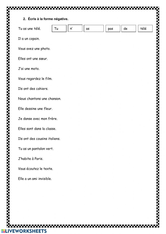 La Negation Pas De 1 Worksheet French Grammar Workbook Your Teacher [ 1413 x 1000 Pixel ]