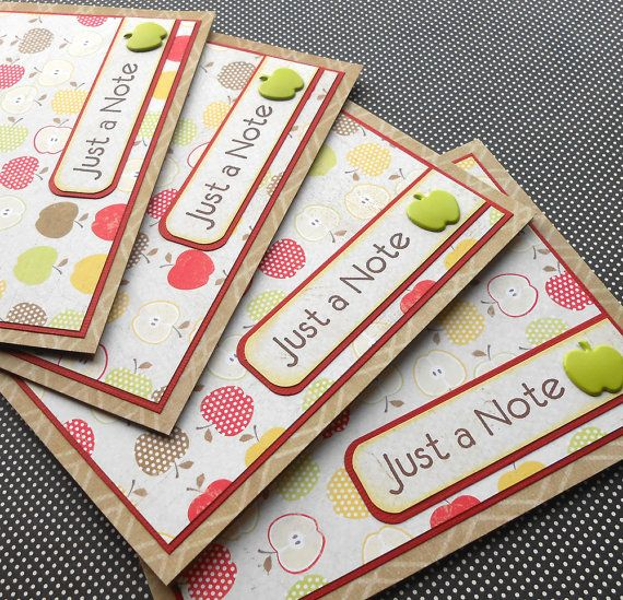 All Occasion Card Set: 4 Handmade Cards with Matching Embellished Envelopes - Orchard via Etsy
