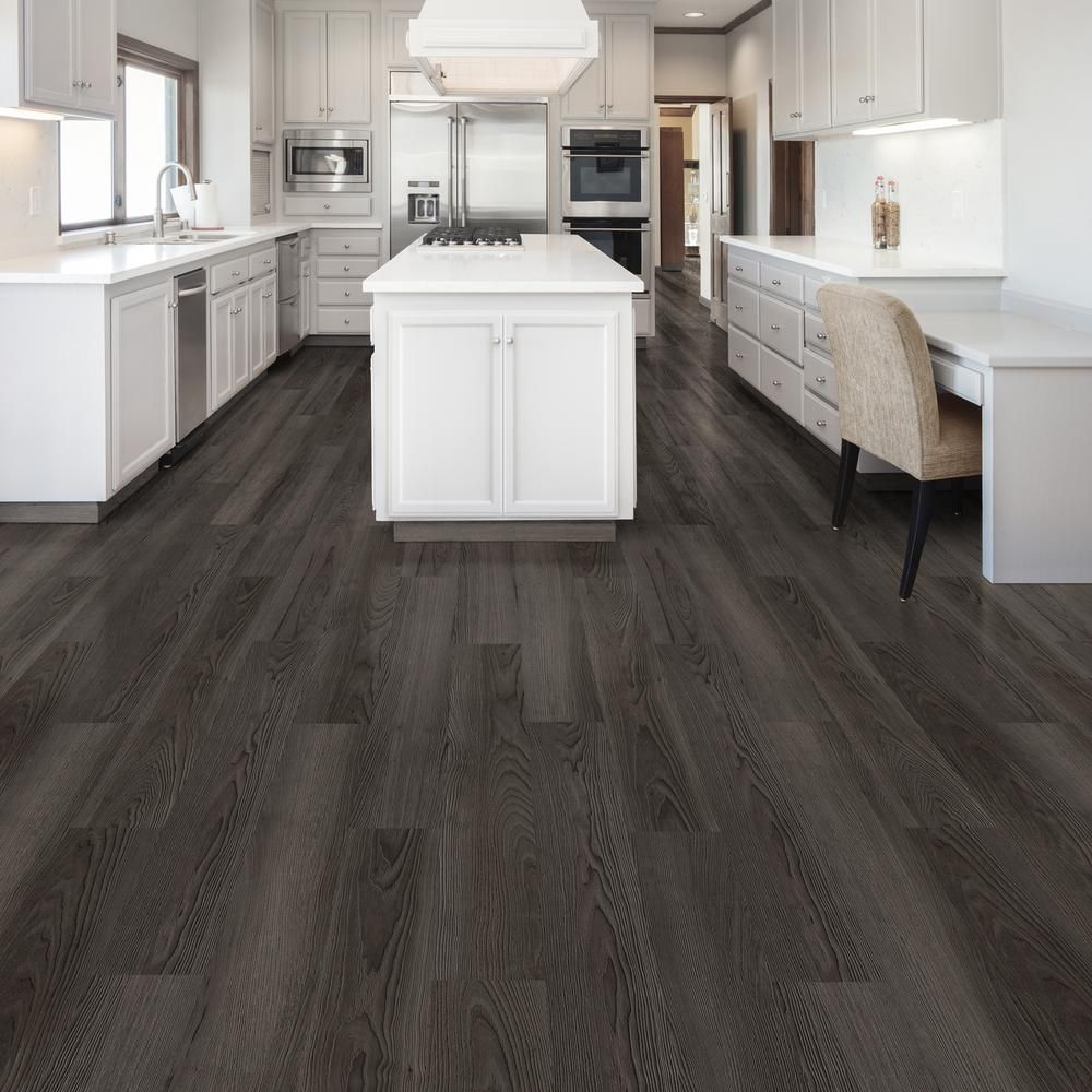 Home Decorators Collection Black Ash 7 1 In W X 47 6 In L Luxury Vinyl Plank Flooring 23 44 Sq Ft Case S651112 The Home Depot Vinyl Plank Flooring Kitchen Luxury Vinyl Plank Vinyl Flooring Kitchen