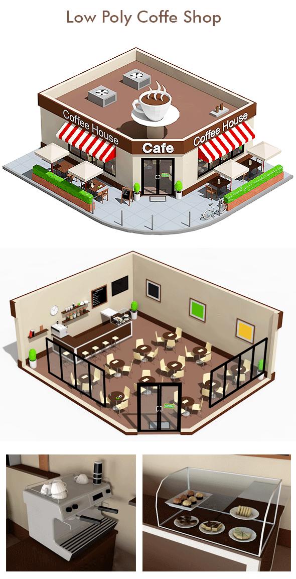 Low Poly Coffee Shop Cafe Interior Design Cafe Floor Plan Coffee Shop Interior Design