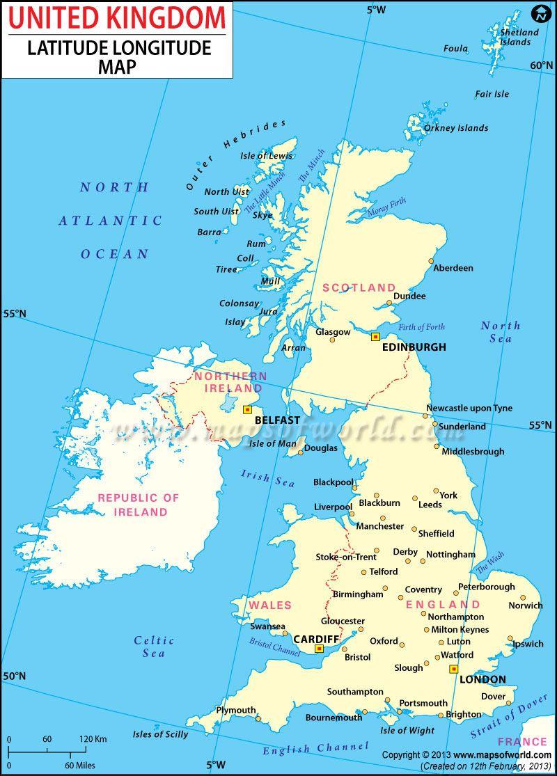 United Kingdom Latitude And Longitude Map Maps Of The World - Usa latitude and longitude map