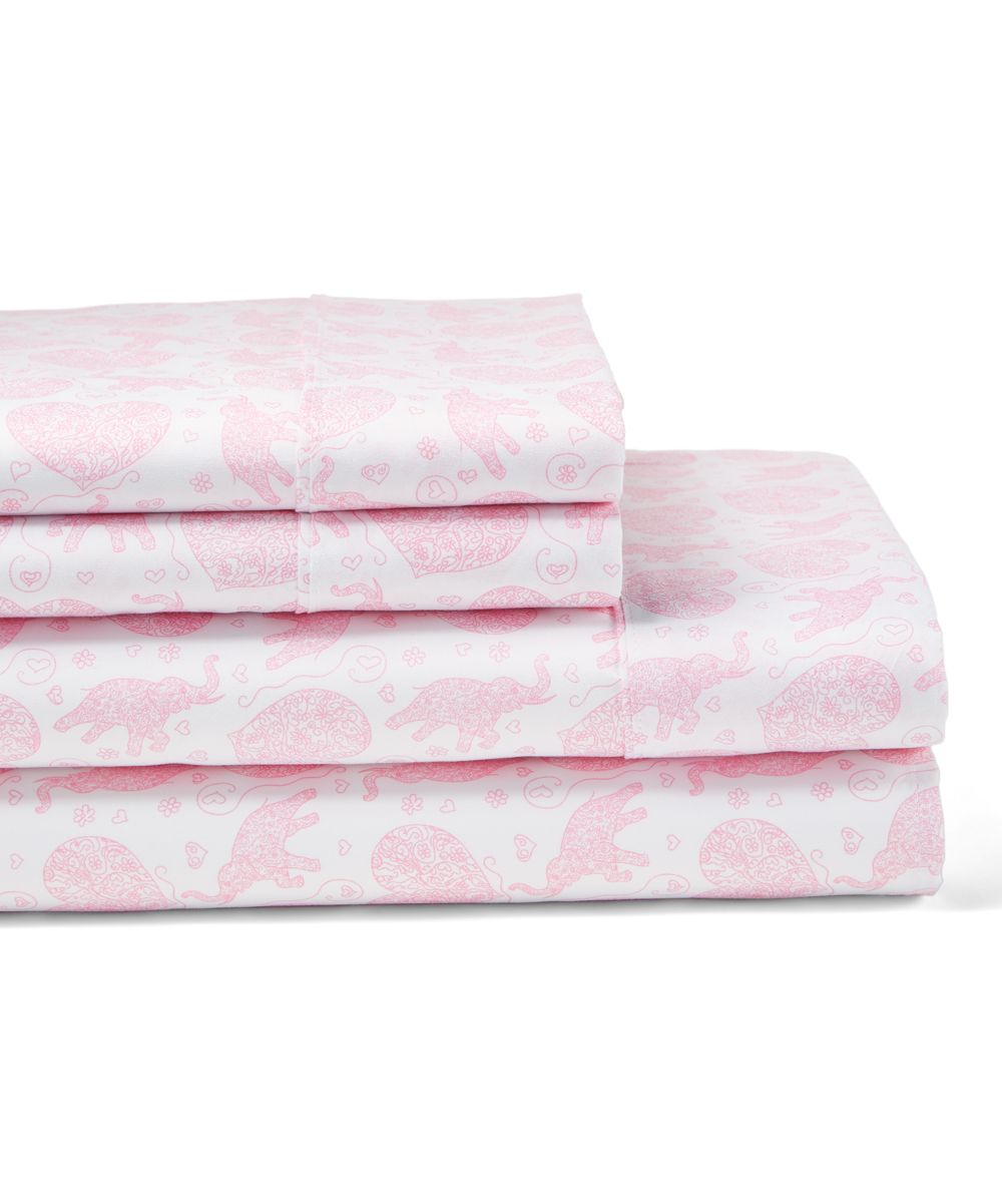 Pink Elephants & Hearts Sheet Set
