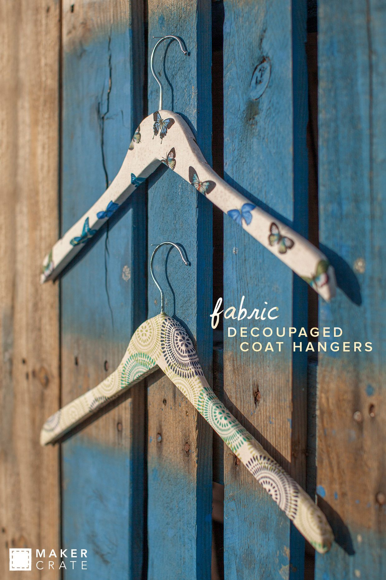 Fabric Decoupaged Coat Hangers
