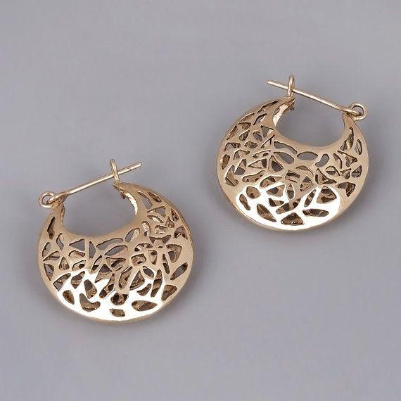 Filigree Earrings 14k Gold Solid Basket