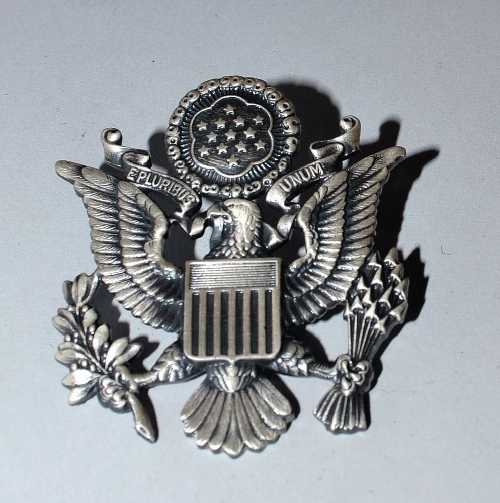 Vintage United States Air Force Hat Badge Pin Eagle E