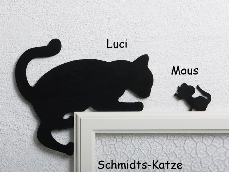 katzenfigur mit maus f r den t rrahmen luci von schmidt s katze auf cats. Black Bedroom Furniture Sets. Home Design Ideas