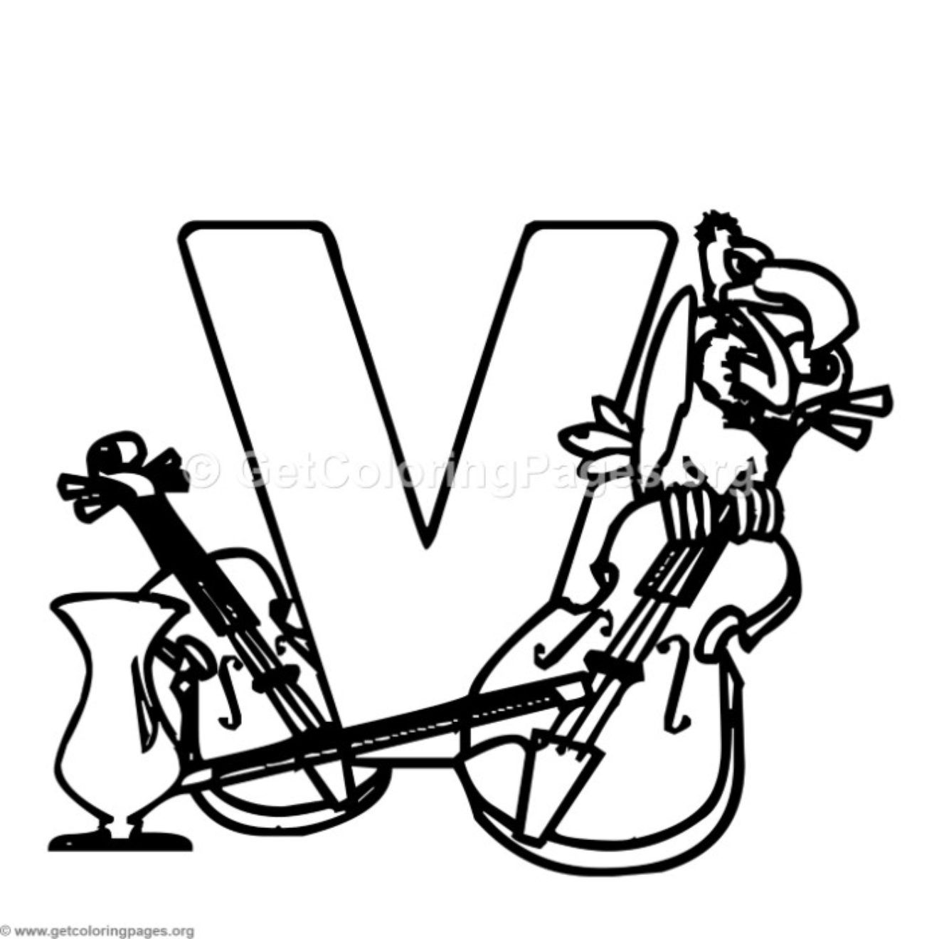 Alphabet Characters Letter V Coloring Pages Getcoloringpages Org