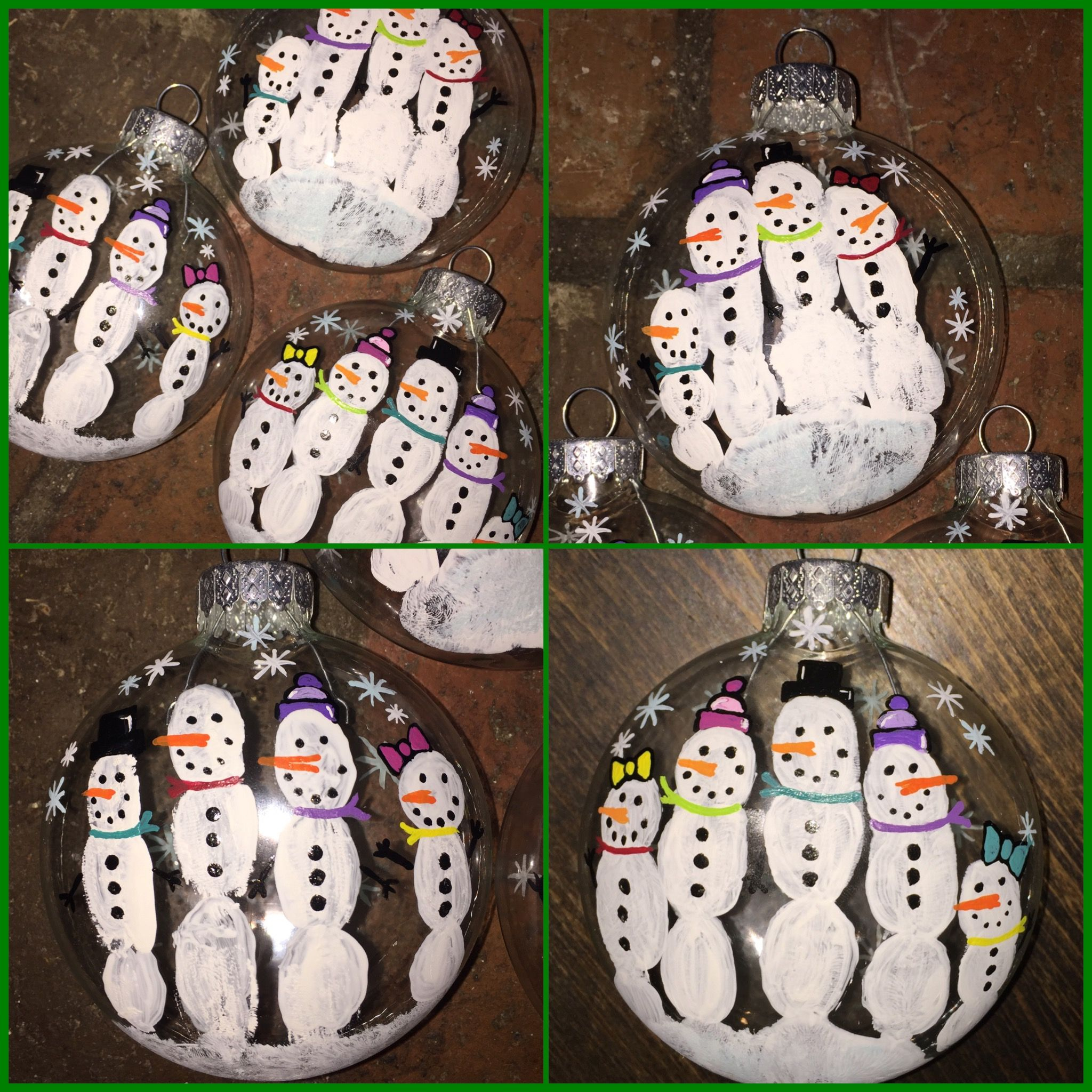 Fingerprint Snowmen On Clear Glass Ornaments Made With My Daughters Handprints Christmas Ornament Crafts Kids Christmas Ornaments Clear Christmas Ornaments