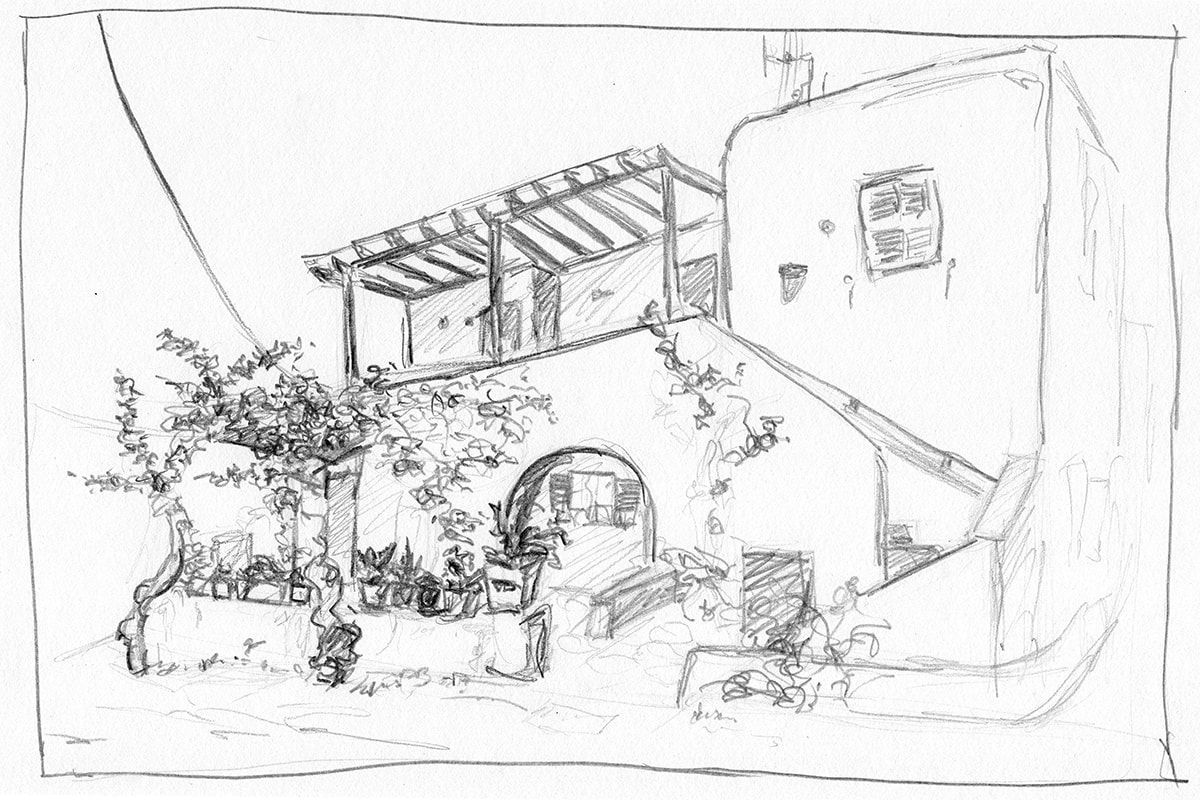 Sketch Of A White House In Greece In