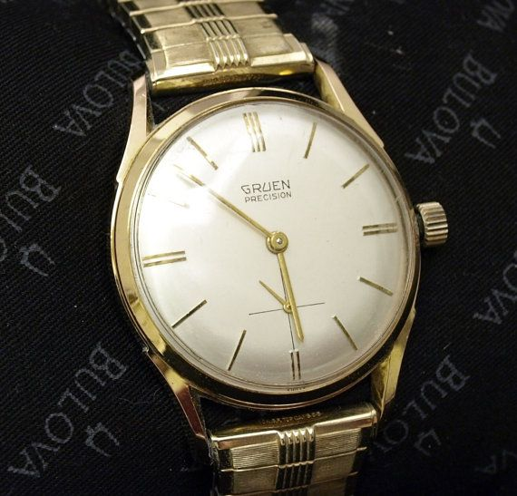 Gruen Watch Co Precision 17 Jewel Mens Wrist Watch Circa 1960 S 10 Karat Gold Filled Ruby Jewels Winds Sets And Runs Strong Wristwatch Men Gruen Watches Vintage Watches