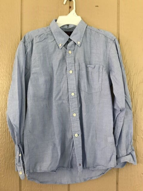 Tommy Hilfiger Boys Shirt Button Down Long Sleeve Pocket Shirt Blue Size M 12-14 #TommyHilfiger #DressyEverydayHoliday